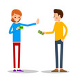 young man wants to pay for the goods in cash vector image