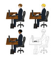 business man sitting with laptop vector image