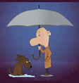 young man walking and found a dog in the rain vector image