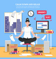 businesswoman doing meditation flat vector image