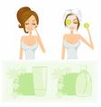 beauty women getting facial mask set vector image