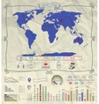 Pen Drawing Warld Map Infographics on Crumpled vector image