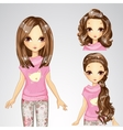 Beautiful Fashion Girl And Collection Of Hairstyle vector image