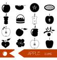 apple theme black simple icons set eps10 vector image
