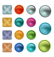 Colored blank buttons template with metal texture vector image