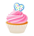 Cupcake with blue heart vector image