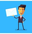 Handsome asian businessman in holding a letter vector image
