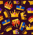 luxury crowns set seamless pattern isolate vector image