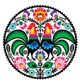 Polish floral embroidery with roosters pattern vector image