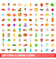 100 food and drink icons set cartoon style vector image