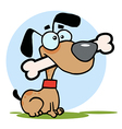 Dog With Big Bone In Mouth vector image vector image