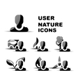 Black user nature glossy icon set vector image
