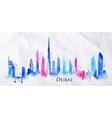 Silhouette watercolor Dubai vector image