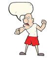cartoon violent man with speech bubble vector image