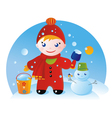 little boy on a winter walk vector image vector image