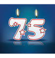 Birthday candle number 75 vector image