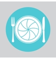 Camera lens with fork and knife vector image