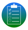 checklist sign white icon in vector image