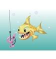 Fish hunts worm vector image