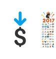 Income Dollar Icon With 2017 Year Bonus Symbols vector image
