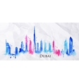 Silhouette watercolor Dubai vector image