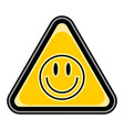 smiley face sign triangular sticker vector image