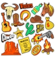 Wild West Texas Western Badges Patches Stickers vector image