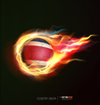 costarica flag with flying soccer ball on fire vector image
