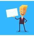 Handsome businessman in formal suit holding letter vector image vector image