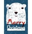 Christmas card design with funny polar bear vector image