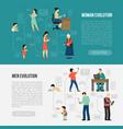 Gender evolution banners set vector image