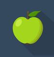 Green apple cartoon flat icon dark blue vector image