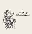 merry christmas card cute drawn santa claus vector image