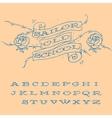 Old-school styled tattoo alphabet set vector image