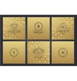 set of golden cards with luxury logos vector image