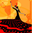 abstract red-black woman and flamenco vector image vector image