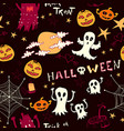 halloween pattern with ghosts monsters vector image