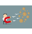 Businessman catching money with magnet vector image