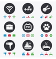 Hotel apartment service icons Wi-fi internet vector image