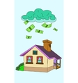 house falling money vector image