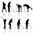 golf player woman black silhouette vector image
