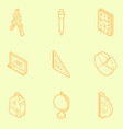 school outline isometric icons vector image