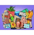 set of products and food goods vector image