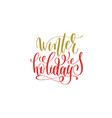winter holidays hand lettering holiday red and vector image