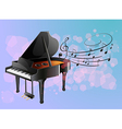 A piano with musical notes vector image vector image