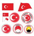 turkey flag set color on white background vector image