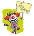 Clown on Unicle Hoding a Happy Birthday Plackard vector image