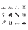 Silhouette sports equipment and objects icons vector image
