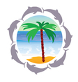 beach paradise with palm and dolphin vector image