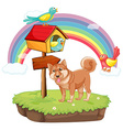 Dog and birdhouse vector image vector image